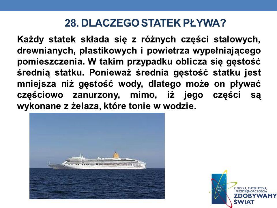 28. DLACZEGO STATEK PŁYWA? Każdy statek składa się z różnych części stalowych, drewnianych, plastikowych i powietrza wypełniającego pomieszczenia. W t