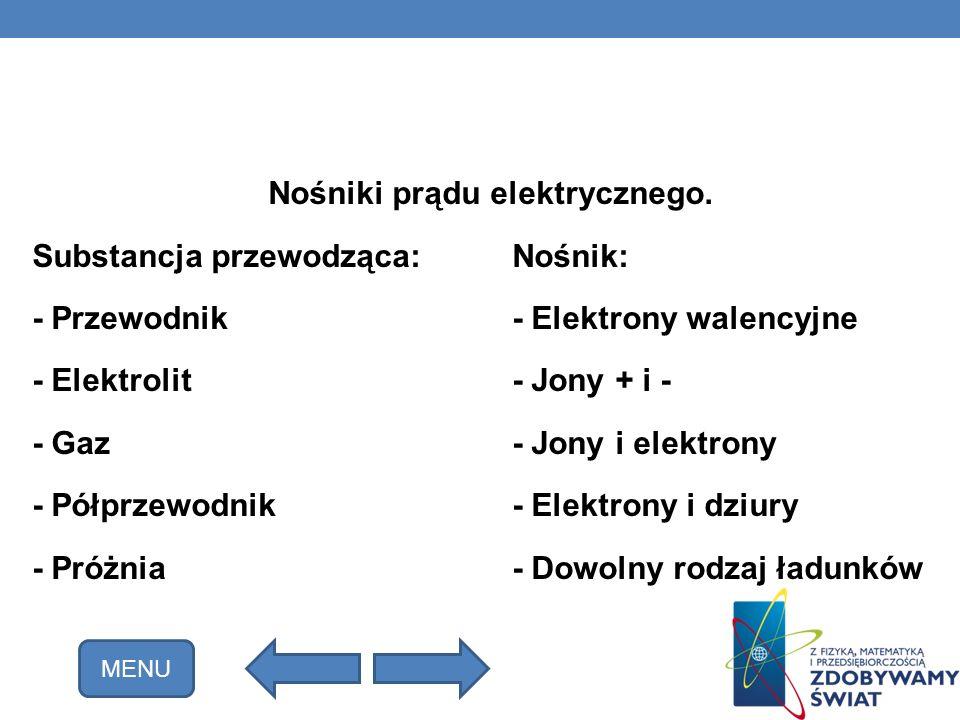 Nośniki prądu elektrycznego. Substancja przewodząca:Nośnik: - Przewodnik- Elektrony walencyjne - Elektrolit- Jony + i - - Gaz- Jony i elektrony - Półp