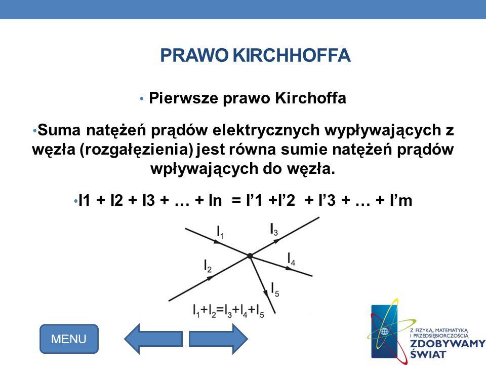 PRAWO KIRCHHOFFA Pierwsze prawo Kirchoffa Suma natężeń prądów elektrycznych wypływających z węzła (rozgałęzienia) jest równa sumie natężeń prądów wpły