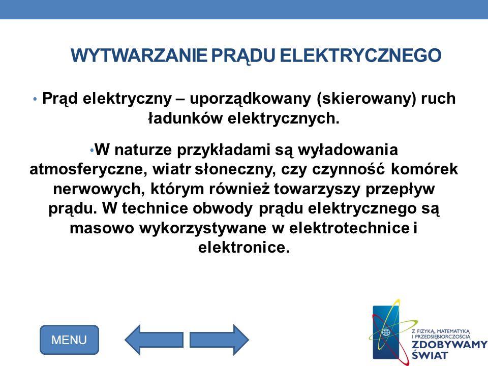 WYTWARZANIE PRĄDU ELEKTRYCZNEGO Prąd elektryczny – uporządkowany (skierowany) ruch ładunków elektrycznych. W naturze przykładami są wyładowania atmosf