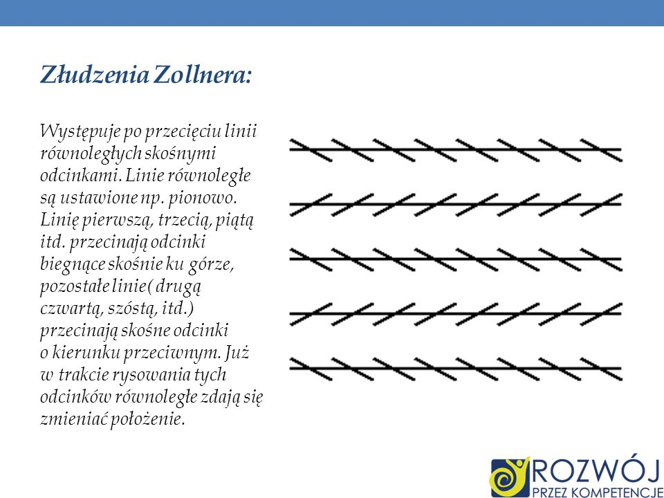 Złudzenia Zollnera: Występuje po przecięciu linii równoległych skośnymi odcinkami. Linie równoległe są ustawione np. pionowo. Linię pierwszą, trzecią,