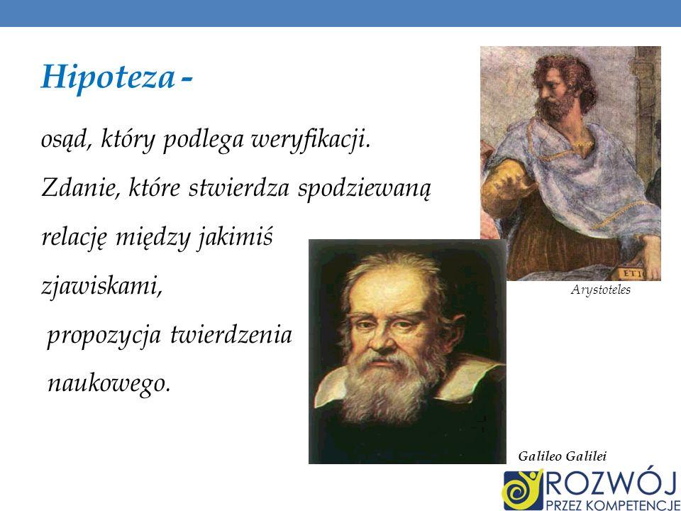 Hipoteza - osąd, który podlega weryfikacji. Zdanie, które stwierdza spodziewaną relację między jakimiś zjawiskami, Arystoteles propozycja twierdzenia