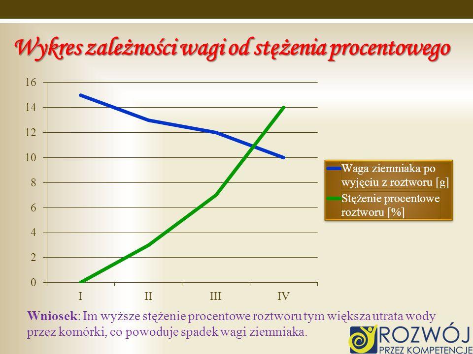 Wykres zależności wagi od stężenia procentowego Wniosek: Im wyższe stężenie procentowe roztworu tym większa utrata wody przez komórki, co powoduje spa