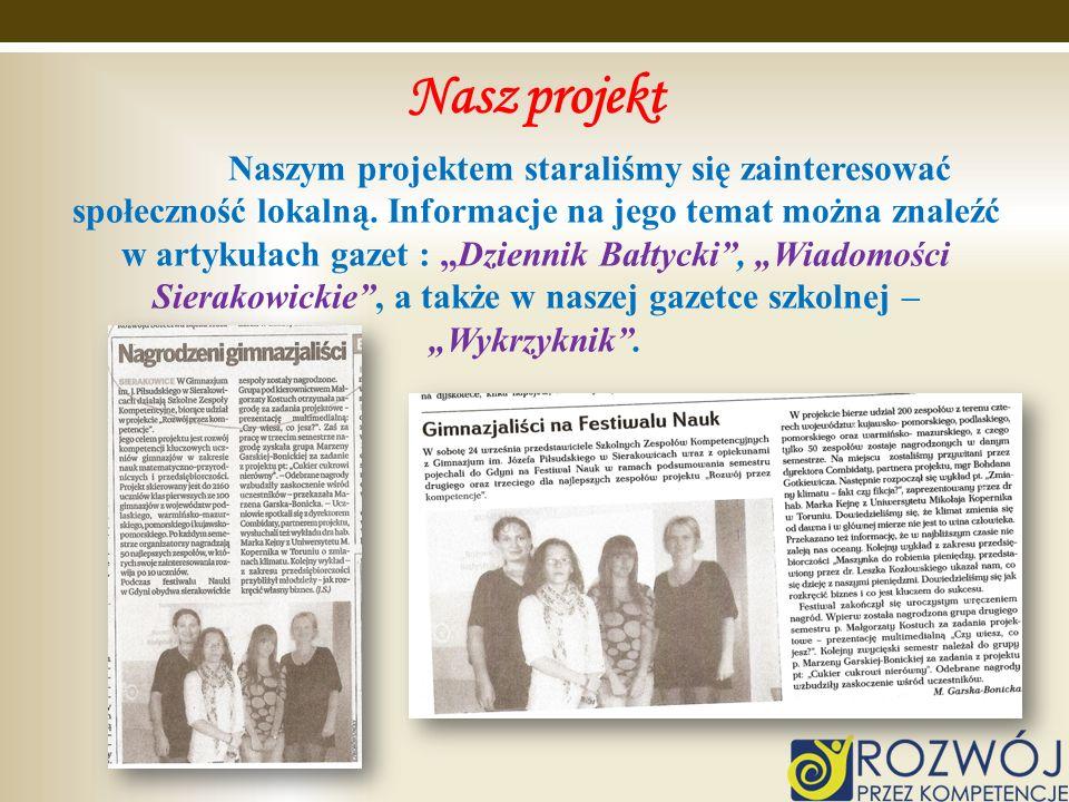 Nasz projekt Naszym projektem staraliśmy się zainteresować społeczność lokalną. Informacje na jego temat można znaleźć w artykułach gazet : Dziennik B