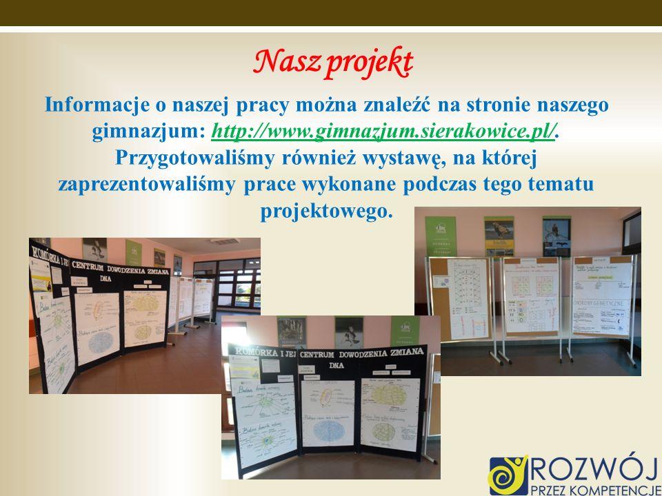 Nasz projekt Informacje o naszej pracy można znaleźć na stronie naszego gimnazjum: http://www.gimnazjum.sierakowice.pl/.http://www.gimnazjum.sierakowi
