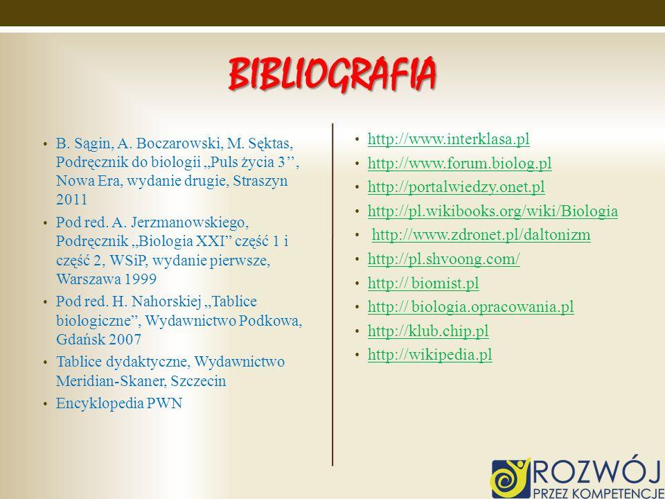 BIBLIOGRAFIA B. Sągin, A. Boczarowski, M. Sęktas, Podręcznik do biologii Puls życia 3, Nowa Era, wydanie drugie, Straszyn 2011 Pod red. A. Jerzmanowsk