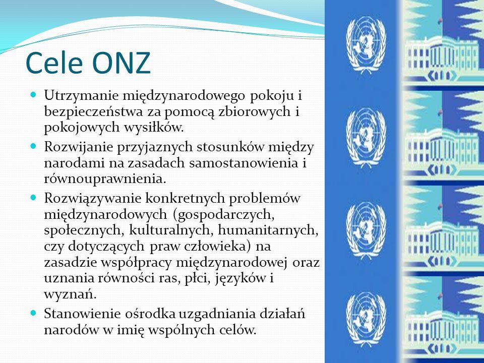 Organizacja Narodów Zjednoczonych Organizacja Narodów Zjednoczonych - organizacja międzynarodowa, z siedzibą w Nowym Jorku, powstała 24 października 1945 r.