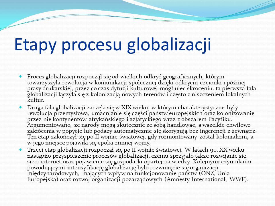 GLOBALIZACJA Ogół procesów prowadzących do coraz większej współzależności integracji państw, społeczeństw, gospodarek i kultur, czego efektem jest tworzenie się jednego świata , światowego społeczeństwa; zanikanie kategorii państwa narodowego; kurczenie się przestrzeni społecznej i wzrost tempa interakcji poprzez wykorzystanie technologii informacyjnych oraz wzrost znaczenia organizacji ponad- i międzynarodowych, w szczególności ponadnarodowych korporacji.
