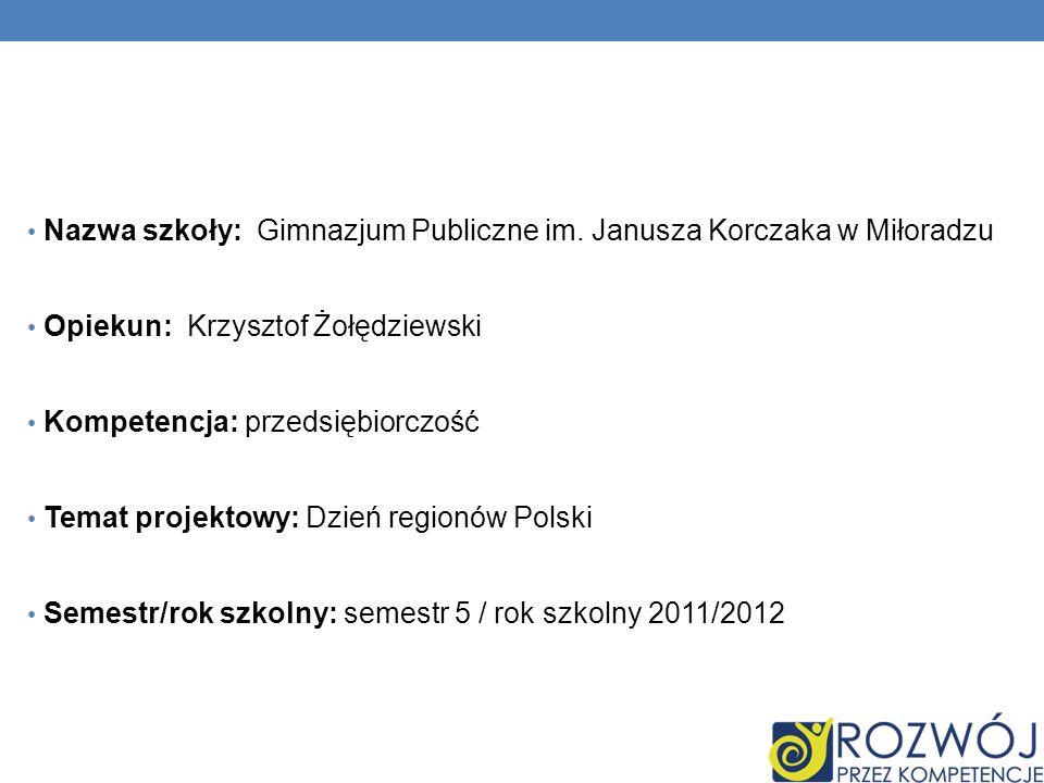 Nazwa szkoły: Gimnazjum Publiczne im. Janusza Korczaka w Miłoradzu Opiekun: Krzysztof Żołędziewski Kompetencja: przedsiębiorczość Temat projektowy: Dz