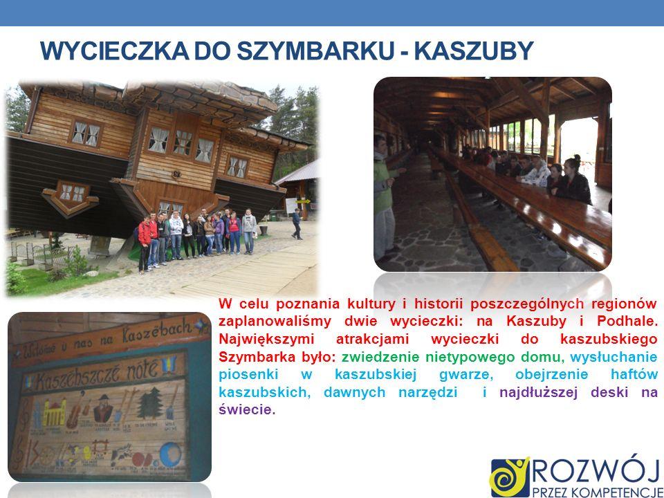 WYCIECZKA DO SZYMBARKU - KASZUBY W celu poznania kultury i historii poszczególnych regionów zaplanowaliśmy dwie wycieczki: na Kaszuby i Podhale. Najwi