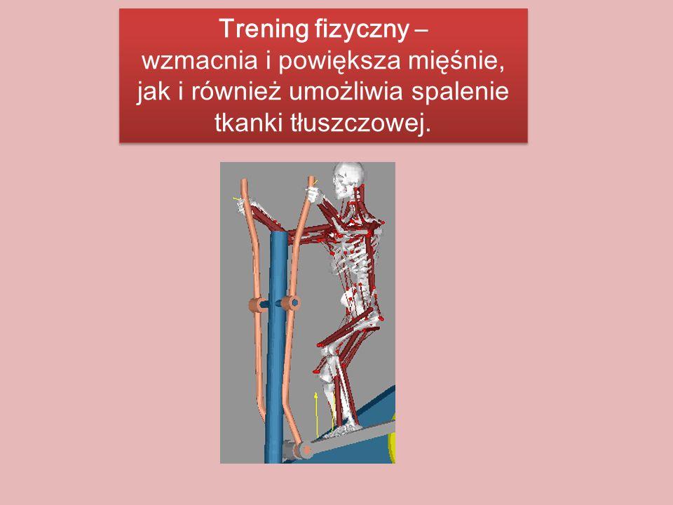 Trening fizyczny – wzmacnia i powiększa mięśnie, jak i również umożliwia spalenie tkanki tłuszczowej. Trening fizyczny – wzmacnia i powiększa mięśnie,