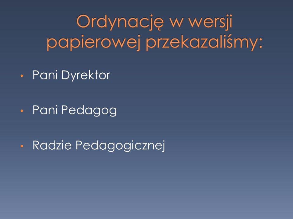 Pani Dyrektor Pani Pedagog Radzie Pedagogicznej