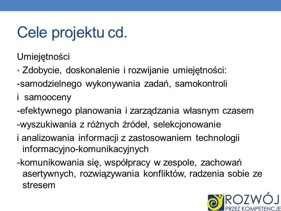Cele projektu cd. Umiejętności Zdobycie, doskonalenie i rozwijanie umiejętności: -samodzielnego wykonywania zadań, samokontroli i samooceny -efektywne