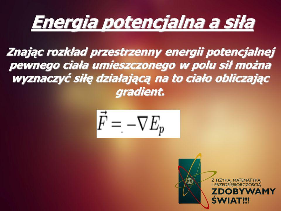 Energia potencjalna a siła Znając rozkład przestrzenny energii potencjalnej pewnego ciała umieszczonego w polu sił można wyznaczyć siłę działającą na