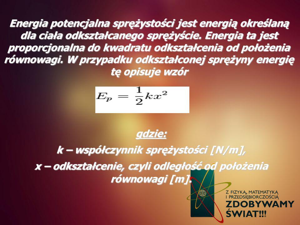 Energia potencjalna sprężystości jest energią określaną dla ciała odkształcanego sprężyście. Energia ta jest proporcjonalna do kwadratu odkształcenia