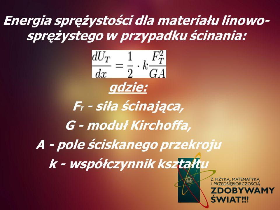 Energia sprężystości dla materiału linowo- sprężystego w przypadku ścinania: gdzie: F T - siła ścinająca, G - moduł Kirchoffa, A - pole ściskanego prz