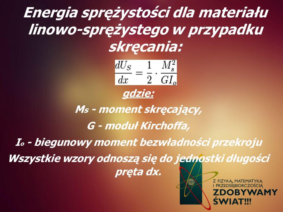 Energia sprężystości dla materiału linowo-sprężystego w przypadku skręcania: gdzie: M s - moment skręcający, G - moduł Kirchoffa, I o - biegunowy mome