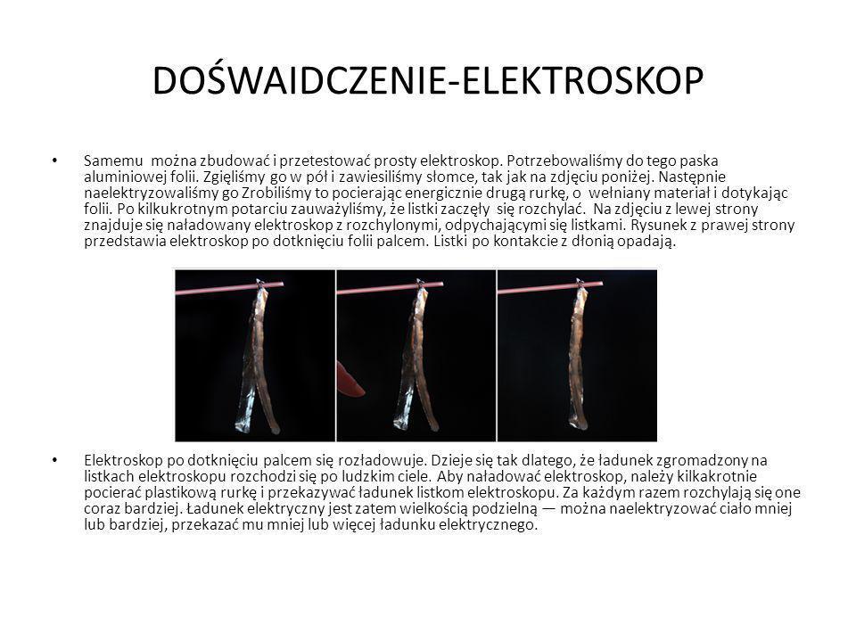 DOŚWAIDCZENIE-ELEKTROSKOP Samemu można zbudować i przetestować prosty elektroskop. Potrzebowaliśmy do tego paska aluminiowej folii. Zgięliśmy go w pół