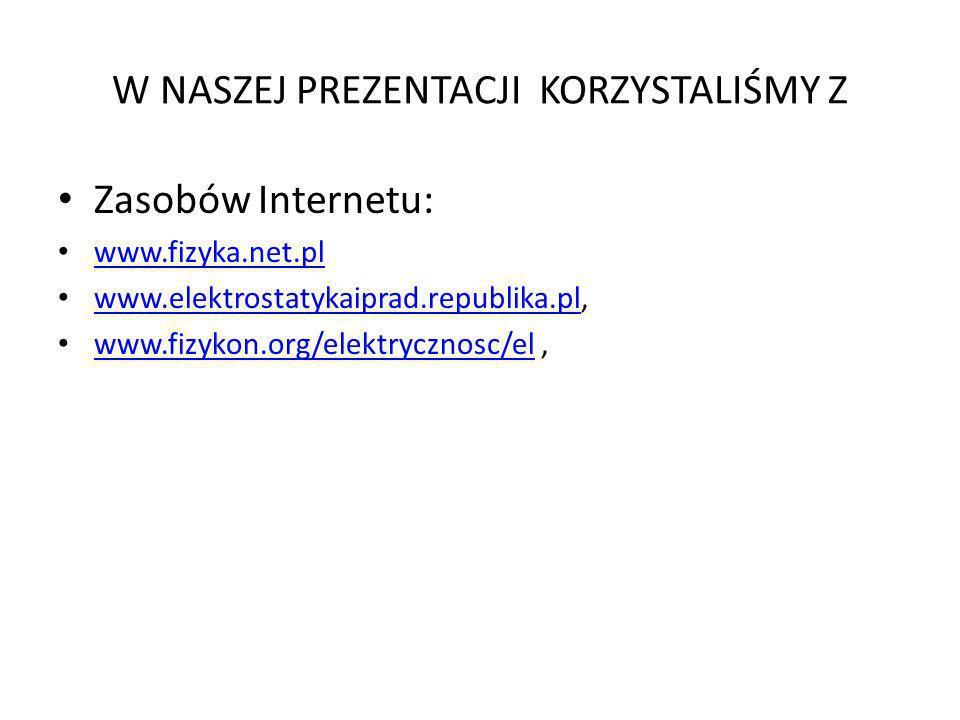 W NASZEJ PREZENTACJI KORZYSTALIŚMY Z Zasobów Internetu: www.fizyka.net.pl www.elektrostatykaiprad.republika.pl, www.elektrostatykaiprad.republika.pl w