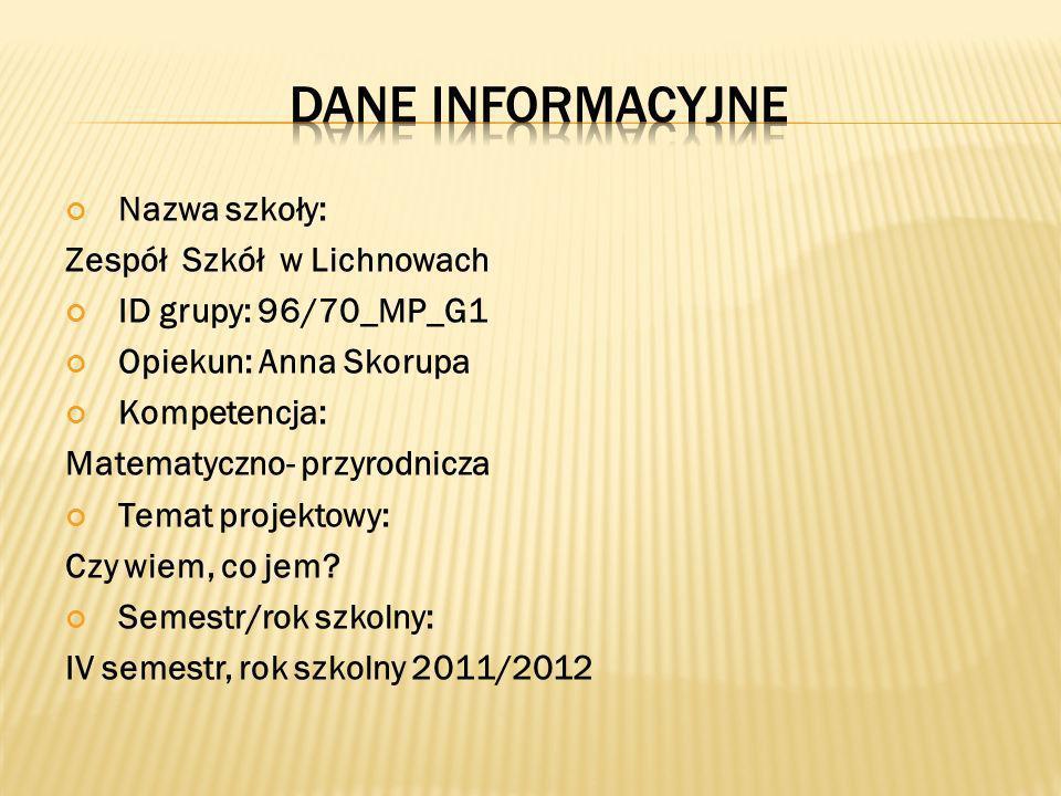 Nazwa szkoły: Zespół Szkół w Lichnowach ID grupy: 96/70_MP_G1 Opiekun: Anna Skorupa Kompetencja: Matematyczno- przyrodnicza Temat projektowy: Czy wiem