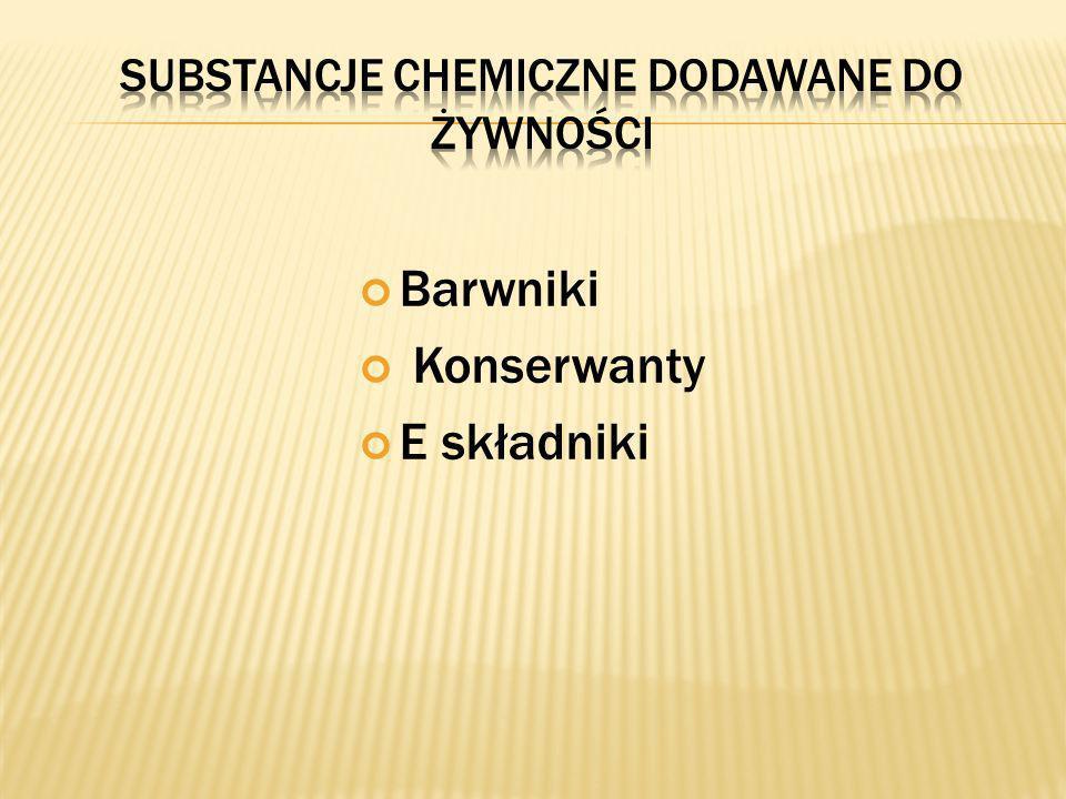 Barwniki Konserwanty E składniki