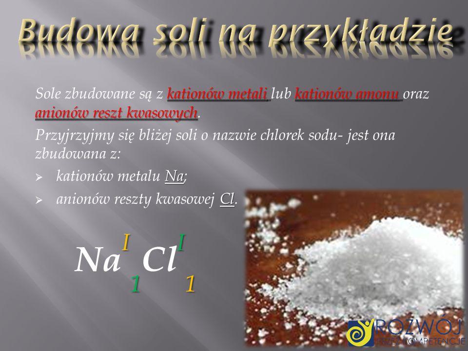Z podanego w poprzednim slajdzie przykładu możemy wywnioskować wzór ogólny: M m n R n m Gdzie: M M - metal; R R - reszta kwasowa; m m -wartościowość metalu= liczbie anionów reszty kwasowej; n n - wartościowość reszty kwasowej= liczbie kationów metalu.
