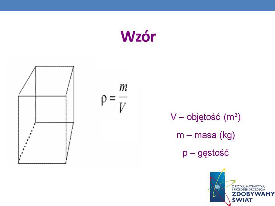 Wzór V – objętość (m³) m – masa (kg) p – gęstość