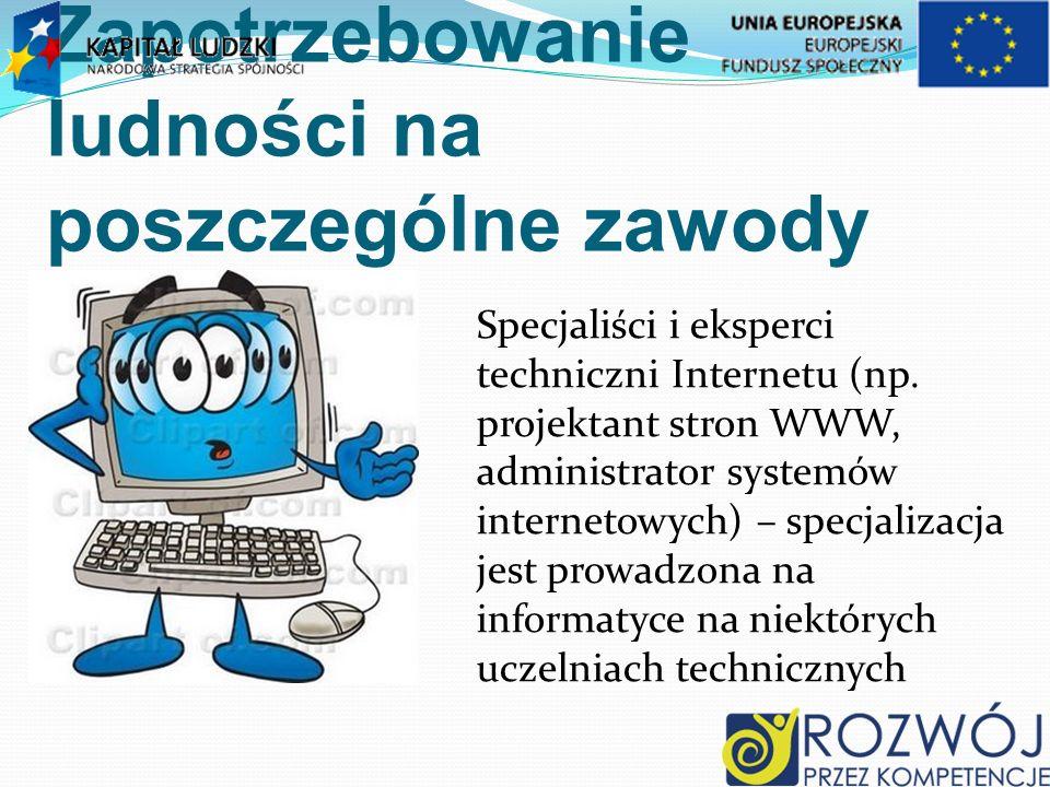 Zapotrzebowanie ludności na poszczególne zawody Specjaliści i eksperci techniczni Internetu (np.