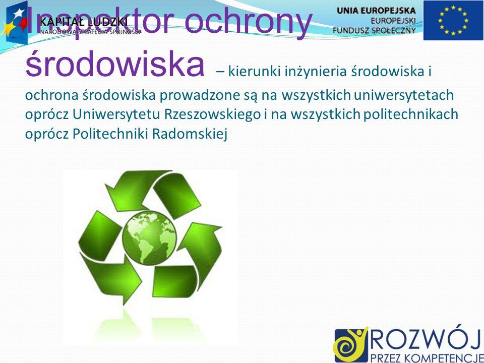 Inspektor ochrony środowiska – kierunki inżynieria środowiska i ochrona środowiska prowadzone są na wszystkich uniwersytetach oprócz Uniwersytetu Rzeszowskiego i na wszystkich politechnikach oprócz Politechniki Radomskiej