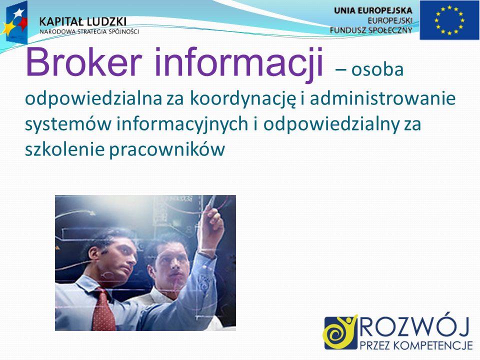 Broker informacji – osoba odpowiedzialna za koordynację i administrowanie systemów informacyjnych i odpowiedzialny za szkolenie pracowników