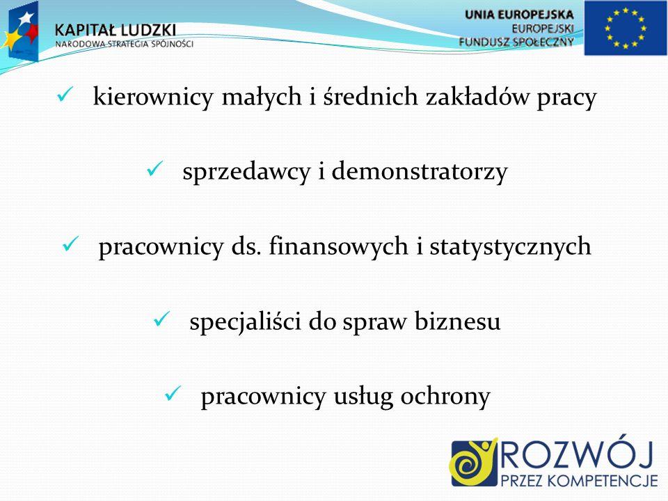 kierownicy małych i średnich zakładów pracy sprzedawcy i demonstratorzy pracownicy ds.
