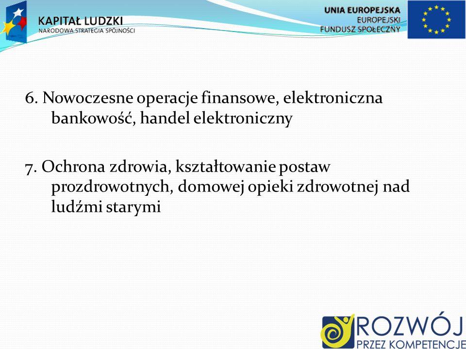 6. Nowoczesne operacje finansowe, elektroniczna bankowość, handel elektroniczny 7.
