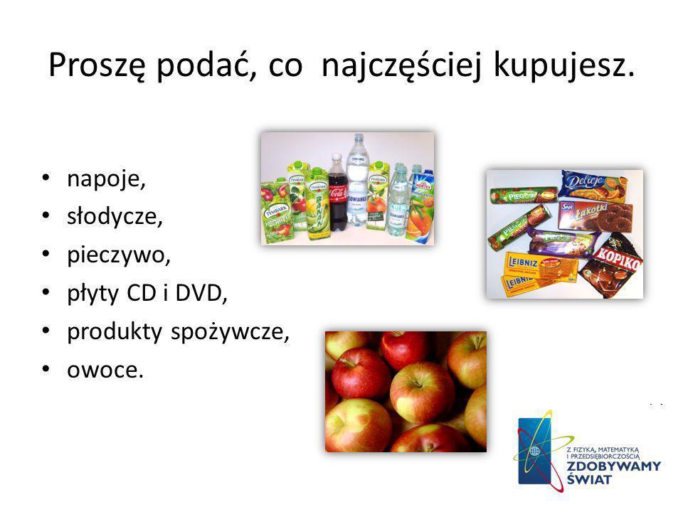 Proszę podać, co najczęściej kupujesz. napoje, słodycze, pieczywo, płyty CD i DVD, produkty spożywcze, owoce.