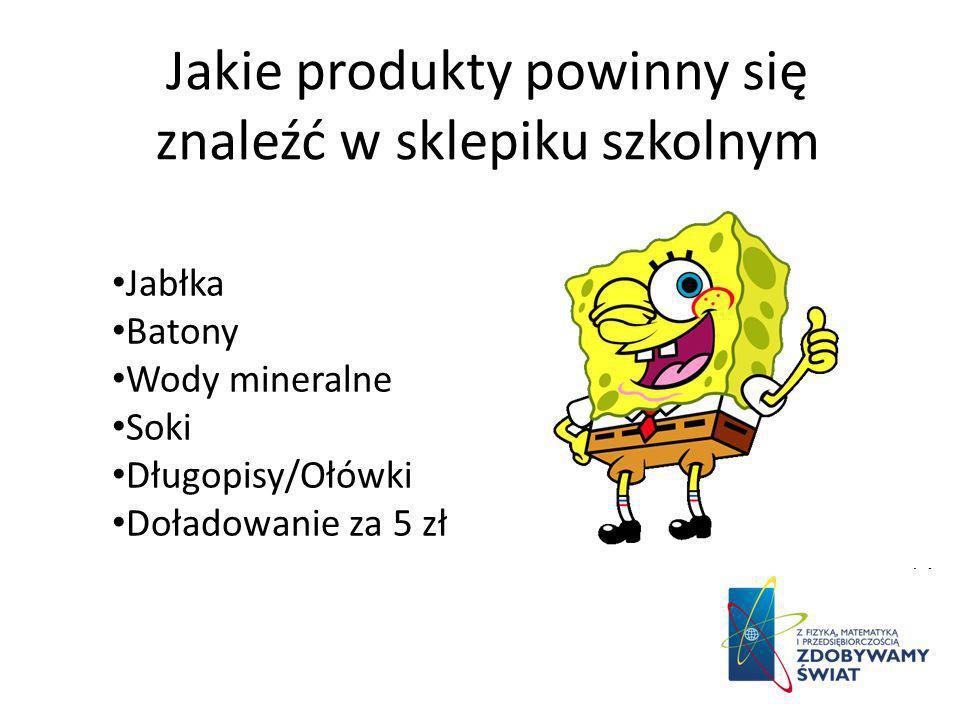 Jakie produkty powinny się znaleźć w sklepiku szkolnym Jabłka Batony Wody mineralne Soki Długopisy/Ołówki Doładowanie za 5 zł