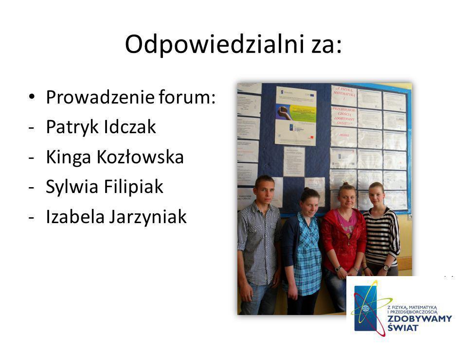 Odpowiedzialni za: Prowadzenie forum: -Patryk Idczak -Kinga Kozłowska -Sylwia Filipiak -Izabela Jarzyniak