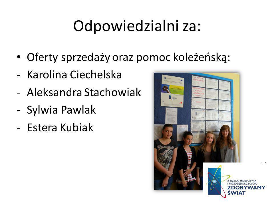 Odpowiedzialni za: Oferty sprzedaży oraz pomoc koleżeńską: -Karolina Ciechelska -Aleksandra Stachowiak -Sylwia Pawlak -Estera Kubiak