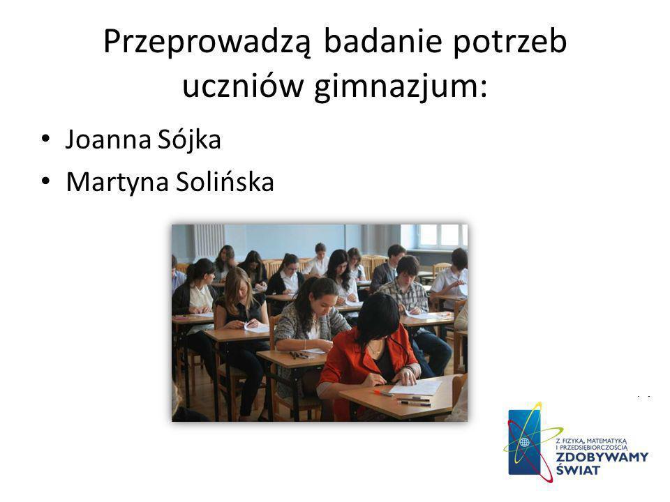 Przeprowadzą badanie potrzeb uczniów gimnazjum: Joanna Sójka Martyna Solińska