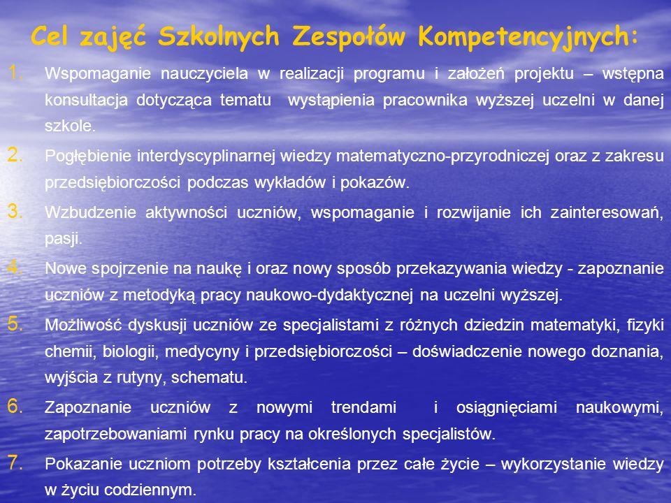 Zadanie: wygłaszanie ciekawych wykładów przez pracowników naukowo-dydaktycznych na terenie szkół objętych projektem