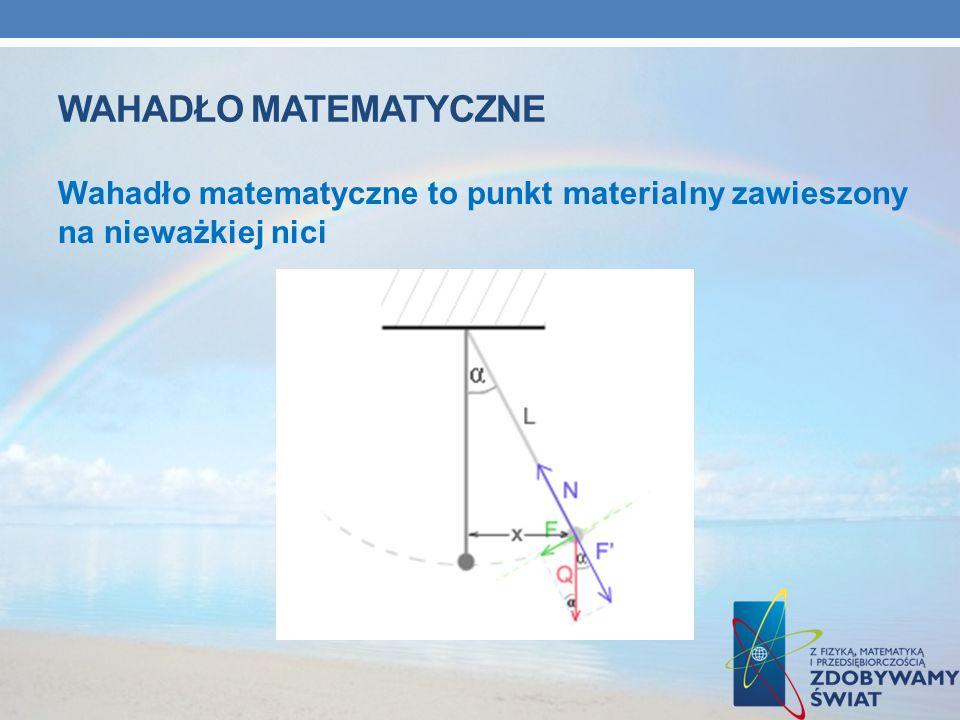 WAHADŁO MATEMATYCZNE Wahadło matematyczne to punkt materialny zawieszony na nieważkiej nici