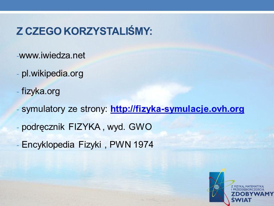 Z CZEGO KORZYSTALIŚMY: - www.iwiedza.net - pl.wikipedia.org - fizyka.org - symulatory ze strony: http://fizyka-symulacje.ovh.orghttp://fizyka-symulacj