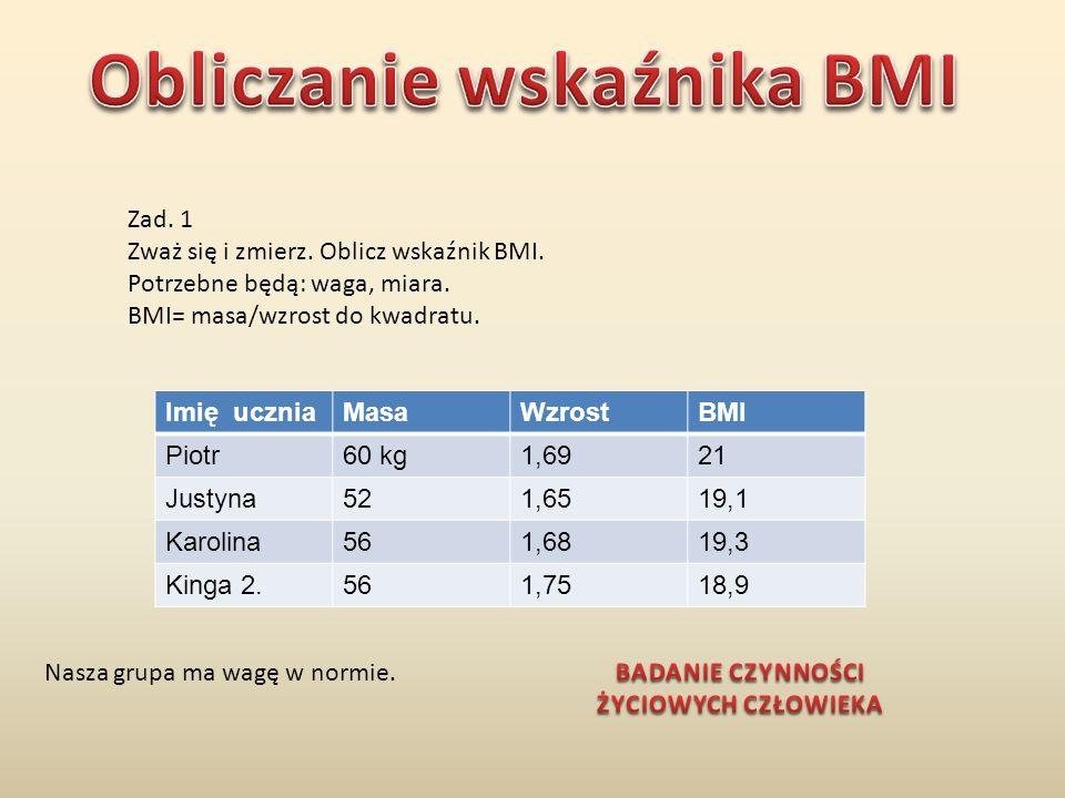 Zad. 1 Zważ się i zmierz. Oblicz wskaźnik BMI. Potrzebne będą: waga, miara. BMI= masa/wzrost do kwadratu. Imię uczniaMasaWzrostBMI Piotr60 kg1,6921 Ju