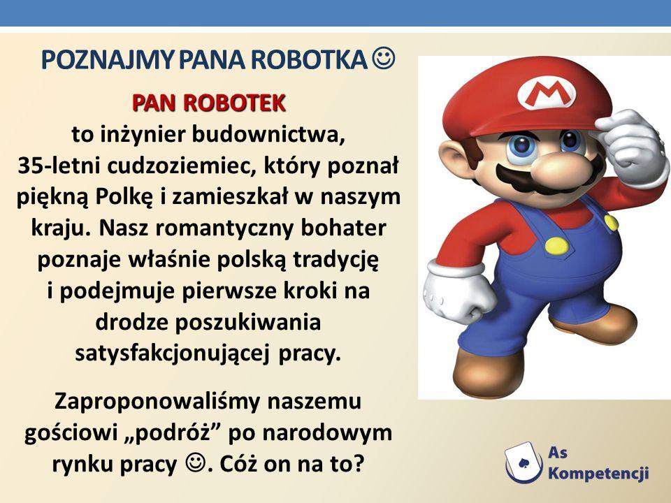 POZNAJMY PANA ROBOTKA PAN ROBOTEK PAN ROBOTEK to inżynier budownictwa, 35-letni cudzoziemiec, który poznał piękną Polkę i zamieszkał w naszym kraju. N