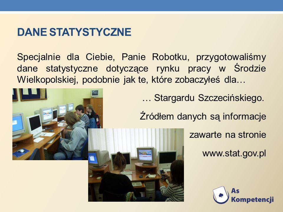 DANE STATYSTYCZNE Specjalnie dla Ciebie, Panie Robotku, przygotowaliśmy dane statystyczne dotyczące rynku pracy w Środzie Wielkopolskiej, podobnie jak