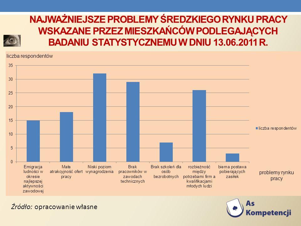 NAJWAŻNIEJSZE PROBLEMY ŚREDZKIEGO RYNKU PRACY WSKAZANE PRZEZ MIESZKAŃCÓW PODLEGAJĄCYCH BADANIU STATYSTYCZNEMU W DNIU 13.06.2011 R. Źródło: opracowanie