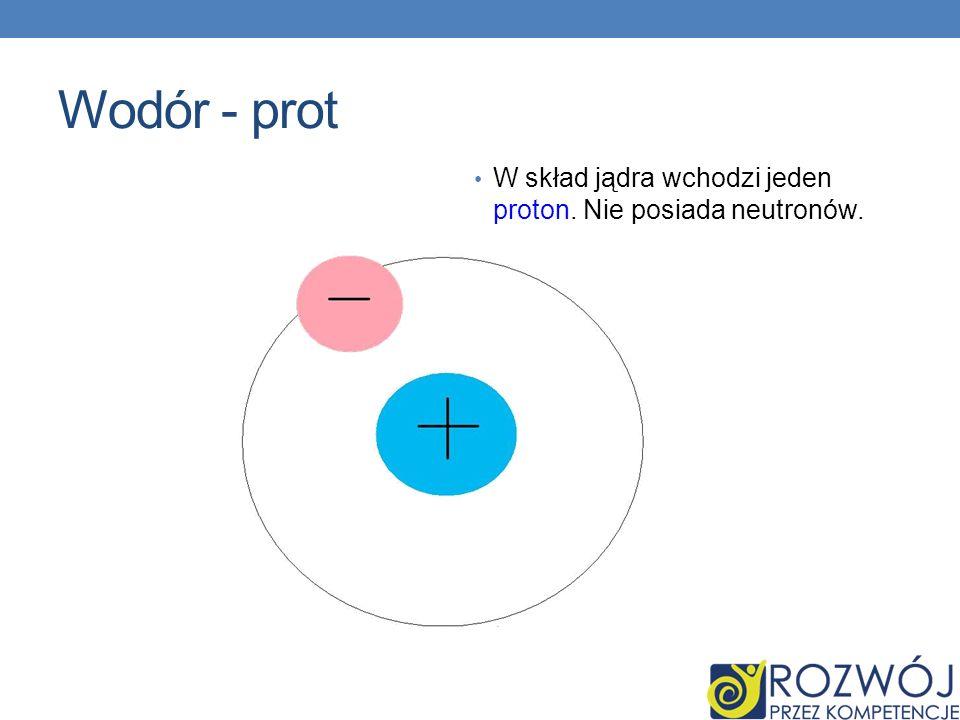 Wodór - prot W skład jądra wchodzi jeden proton. Nie posiada neutronów.