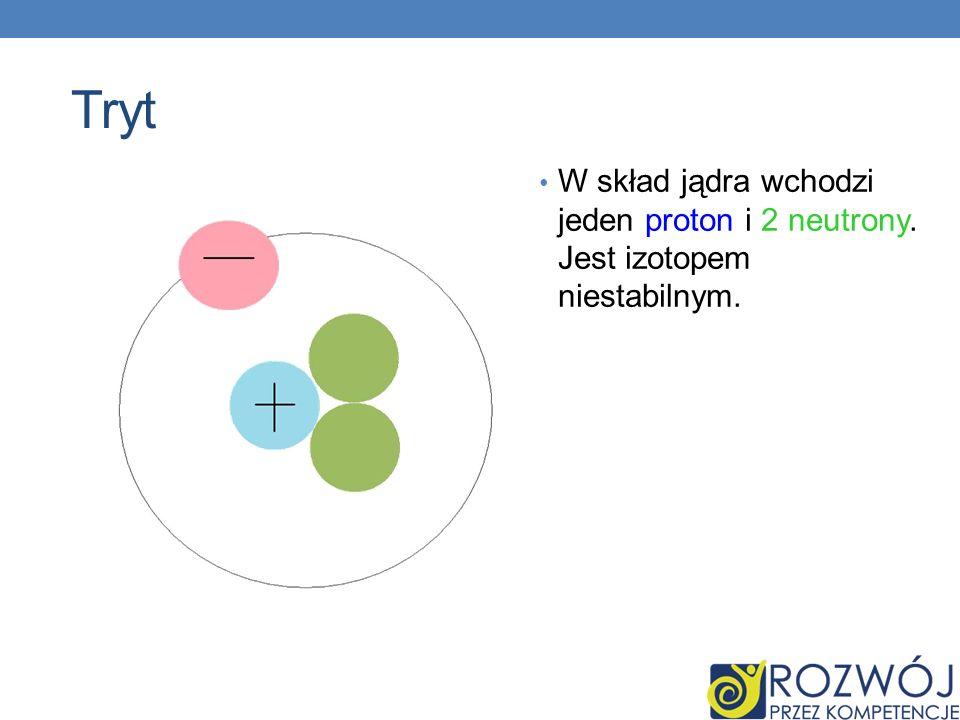 Tryt W skład jądra wchodzi jeden proton i 2 neutrony. Jest izotopem niestabilnym.