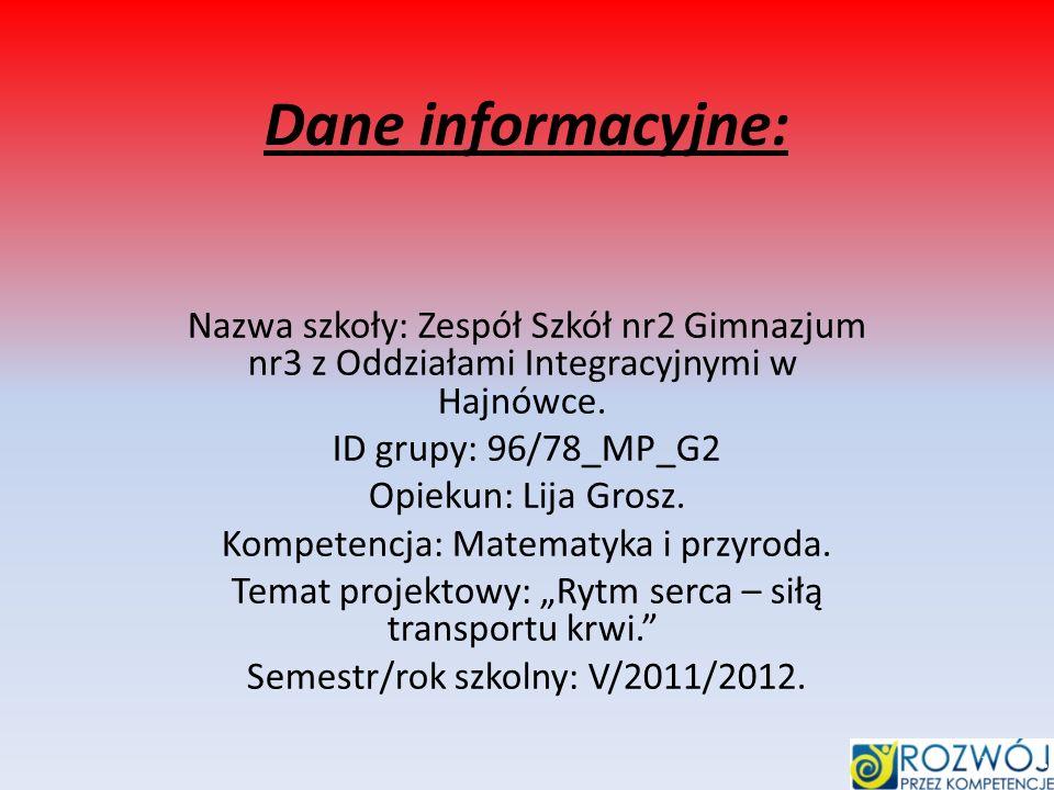 Dane informacyjne: Nazwa szkoły: Zespół Szkół nr2 Gimnazjum nr3 z Oddziałami Integracyjnymi w Hajnówce. ID grupy: 96/78_MP_G2 Opiekun: Lija Grosz. Kom