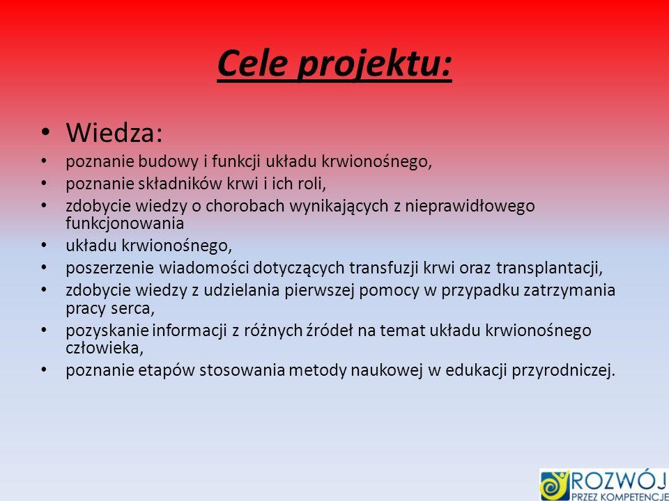 Cele projektu: Wiedza: poznanie budowy i funkcji układu krwionośnego, poznanie składników krwi i ich roli, zdobycie wiedzy o chorobach wynikających z