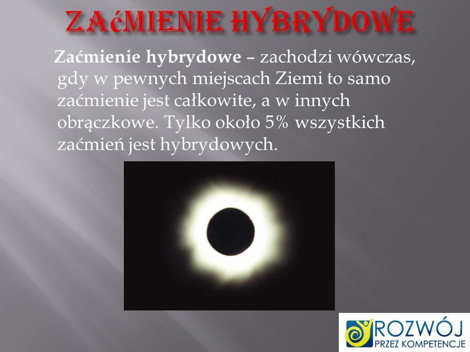 Zaćmienie obrączkowe (pierścieniowe) – występuje wtedy, gdy obserwator znajduje się bardzo blisko przedłużenia linii łączącej Słońce i Księżyc.