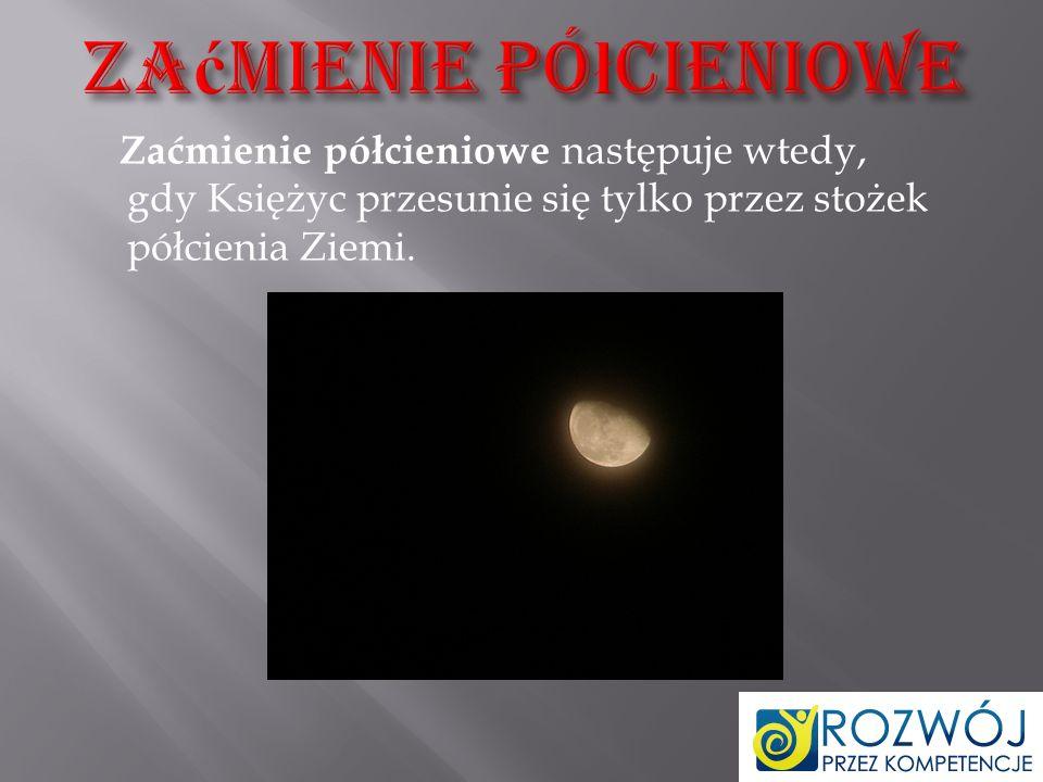 Zaćmienie częściowe następuje wtedy, gdy tylko część Księżyca przesunie się przez stożek cienia całkowitego Ziemi.